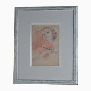 Niederländische Flapper Women Pencil Drawing in Frame, 1930er