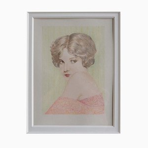 Dutch Flapper Women 3 Pencil Drawing in Frame, 1930s