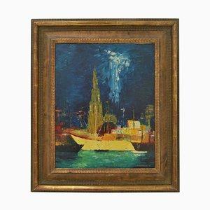Belgian Oil Painting of Ghent by B. Van Landuyt, 1974