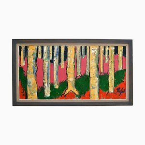 Colorful Birch Tree Landscape Oil Painting by Rafael, 1980s