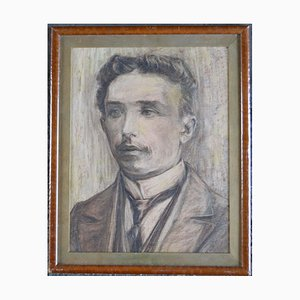 Antique Edwardian Portrait Pencil Drawing