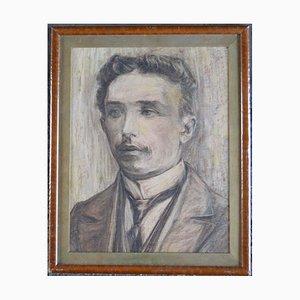 Antique Edwardian Portrait Pencil Drawing