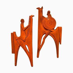 Oranger Wandteller aus Keramik von Don Quixote & Sancho Pancha von Sanchez, 1960er