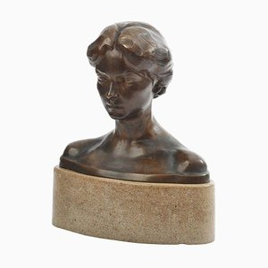 Bronze Bust of a Young Lady by Bory, France, 1900s