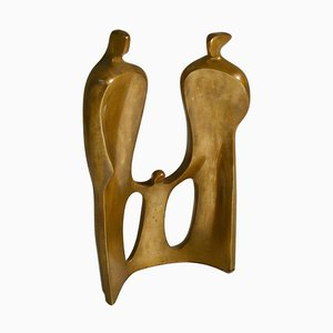 Large Figurative Bronze Sculpture of Family by Maria Guernova, 1985