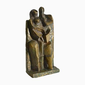 Escultura holandesa cubista de bronce con hombre y mujer de pie, años 60