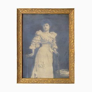 Large Art Nouveau Glamorous Female Silver Print Photo Portrait in Gilded Frame