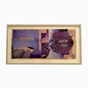 Abstract Collage Art in Tones of Purple by Bill Allan, 1990s
