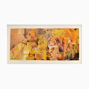 Abstract Collage Art in toni giallo di Bill Allan, anni '90