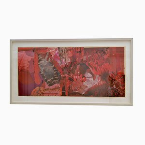 Abstract Collage Art in Tones of Red by Bill Allan, 1990s