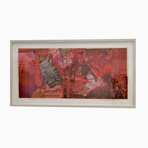 Abstrakte Collage Art in Rottönen von Bill Allan, 1990er