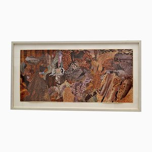Abstract Collage Art in Tones of Brown by Bill Allan, 1990s