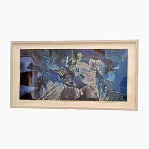 Abstract Collage Art in Tones of Blue by Bill Allan, UK, 1990s