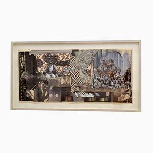 Collage Abstrait Noir et Blanc par Bill Allan, 1990s