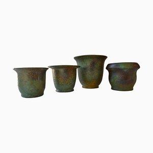 Art Deco Keramik Vasen von Frans van Katwijk, 4er Set