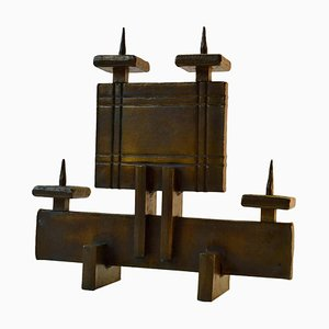 Brutalist Geometric Candelabra for 4 Candles, 1970s