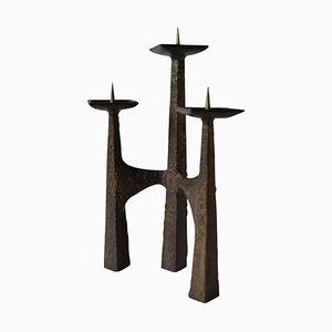 Brutalist 3-Arm Candleholder in Bronze, 1960s