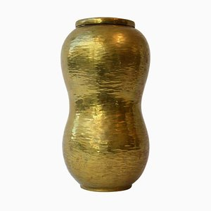 Curvaceous Handcrafted Brass Container by Franz Peters, 1950s
