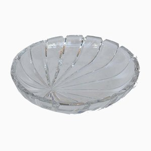 Bohemian Clear Cut Crystal Dish, 1960s