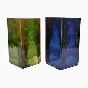 Mid-Century French Square Studio Pottery Vases in Blue and Green, Set of 2