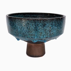 Studio Pottery Fruit Bowl in Black with Turquoise Glaze, 1960s