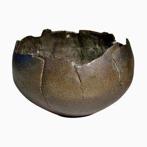 Brutalist Studio Ceramic Bowl Glazed like Oxidized Metal, 1970s