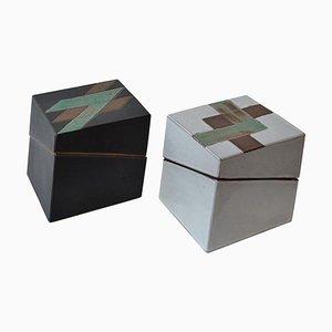 Quadratische Vintage Studio Keramikkisten in Schwarz & Weiß und Geometrischem Muster, 2er Set