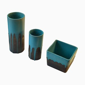Turquoise Vases by Groeneveldt, Netherlands, 1960s, Set of 3