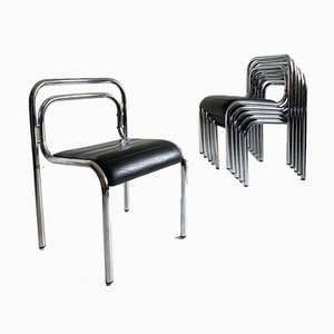 Leather and Tubular Chrome T5 Dining Chairs by Rodney Kinsman for OMK, 1960s, Set of 6