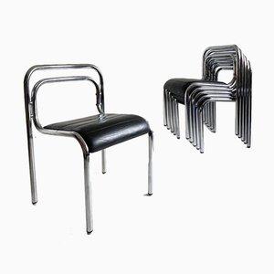 T5 Esszimmerstühle aus Leder & Rohrgestell von Rodney Kinsman fur OMK, 1960er, 6er Set