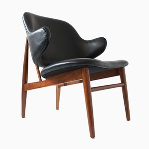 Leather Lounge Chair by Ib Kofod-Larsen for Christensen & Larsen, Denmark, 1950s