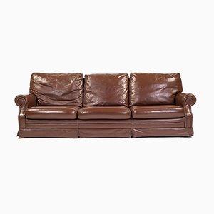 Italian 3-Seat Sofa in Brown Leather, 1970s