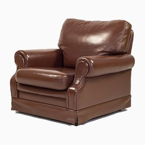 Italian Lounge Armchair in Brown Leather, 1970s