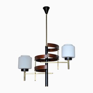 French Opaline Glass, Brass, and Teak Chandelier from Arlus, 1950s