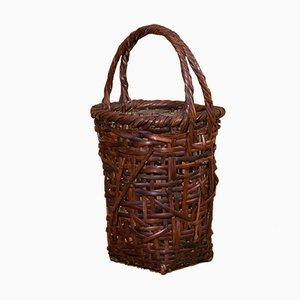 Antiker japanischer Korb aus geflochtenem Bambus