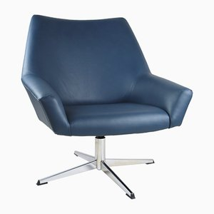 Blue Leather Swivel Chair by VEB Metallwaren Naumburg, 1980s