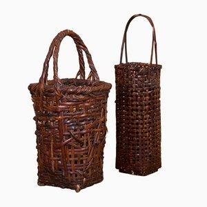 Antiker Japanischer Korb aus Bambus