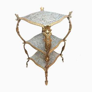 Antiker Beistelltisch aus Gusseisen und Polychrom in Gold und Silber