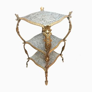 Antique Auxiliary Table in Cast Iron and Polychrome in Gold and Silver