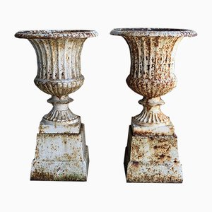 Victorian Cast Iron Campana Urns, Set of 2
