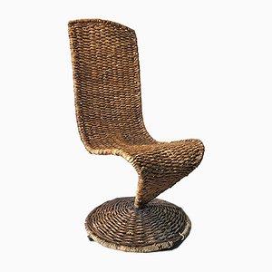 Sedia S in corda intrecciata di Marzio Cecchi, Italia, anni '70
