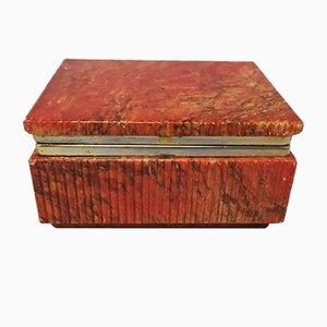 Vintage Italian Trinket Alabaster Red Box, 1960s