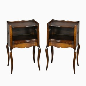Antique French Oak Nightstands, 1920s, Set of 2
