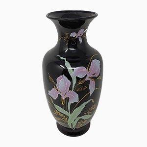 Französische Vase aus Keramik mit Blumenmotiven, 1950er