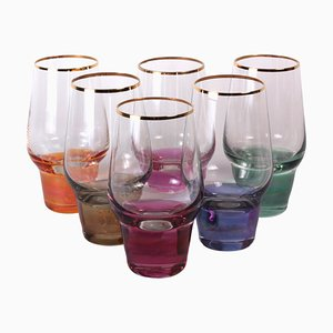 Vintage Clear Glasses with Different Colored Bases from Crystalex, Set of 6