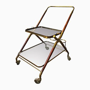 Wooden and Brass Bar Cart by Cesare Lacca, Italy, 1950s