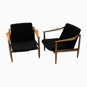 Deutsche Vintage Teak Sessel von Hartmut Lohmeyer für Wilkhahn, 1950er, 2er Set