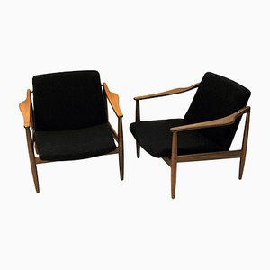 Vintage German Teak Lounge Chairs by Hartmut Lohmeyer for Wilkhahn, 1950s, Set of 2
