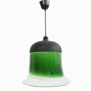 Italienische Hängelampe aus Weißem und Grünem Glas von La Murrina, 1970er