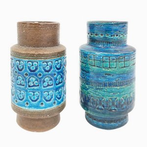 Italian Blue Ceramic Vases by Aldo Londi for Bitossi, 1960s, Set of 2